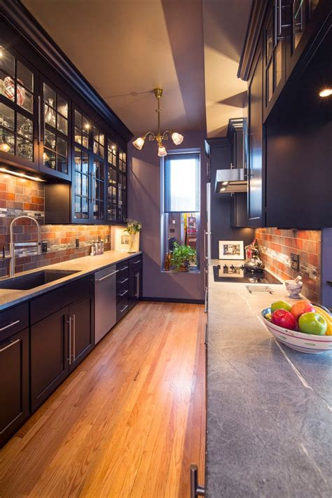 galley kitchen lighting midcentury  traditional