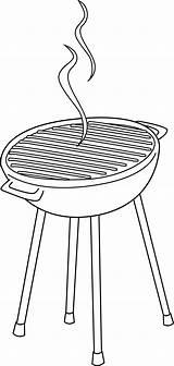 Grill Clip Clipart Coloring Barbeque Line Bbq Hotdog Transparent Vector Border Sweetclipart sketch template