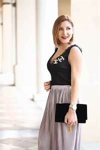 Blushing With Metallics: Pleated Midi Skirt + Lace Tank