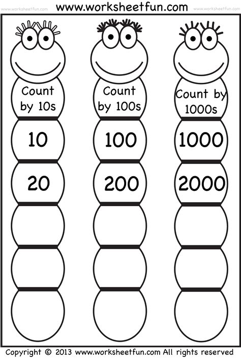 skip counting within 1000 worksheets grade 3 place value