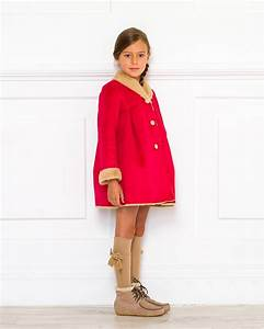 Girls Red u0026 Beige Double Sided Synthetic Fur Coat Outfit | Missbaby