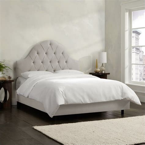 gray tufted bed skyline furniture arch tufted bed in light gray
