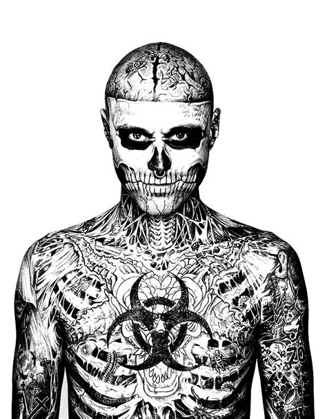 Rick Genest : face and chest - Tattoos Adult Coloring Pages