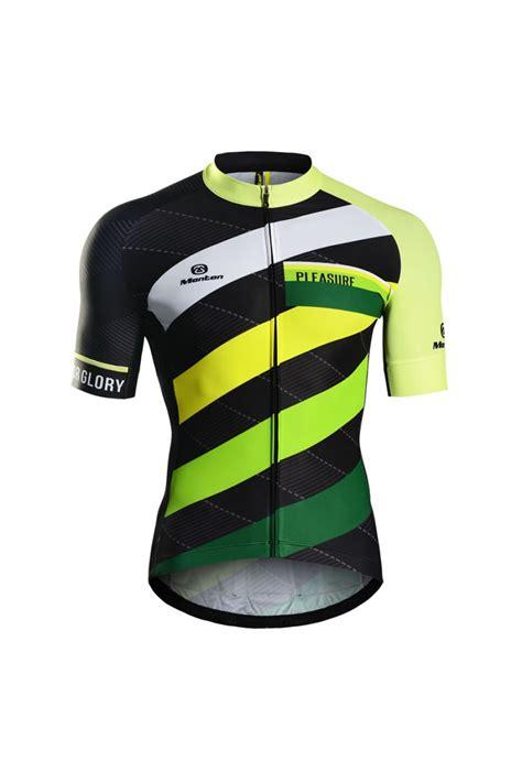 Summer Short Sleeve Green Cycling Jersey Cool For Men