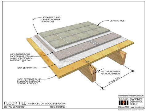 06 130 0101 tile over cbu on wood subfloor architecture