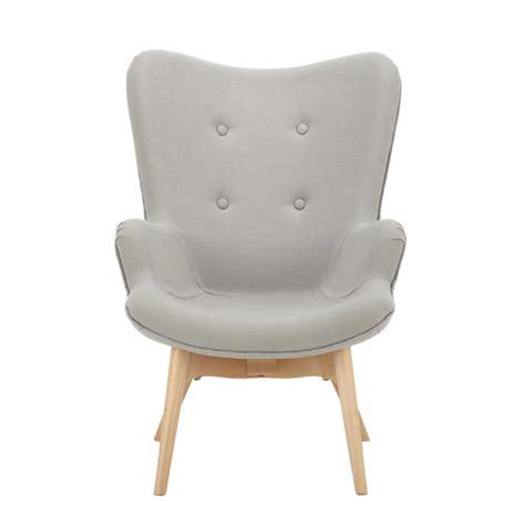 fauteuil vintage enfant en bois et tissu gris iceberg