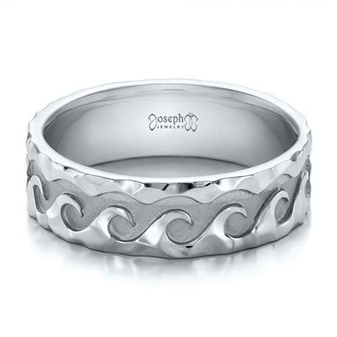 men s wave wedding ring custom men s hammered wave wedding band 100698 seattle bellevue joseph jewelry