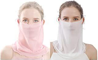 uaussi  pack women summer face scarf mesh ultra thin mask