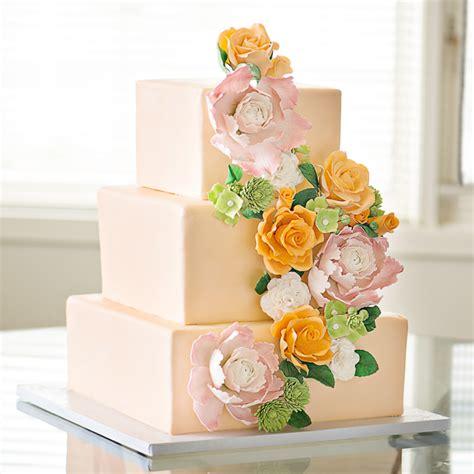 Peach Wedding Cake Peach Wedding Cake With Sugar Flower