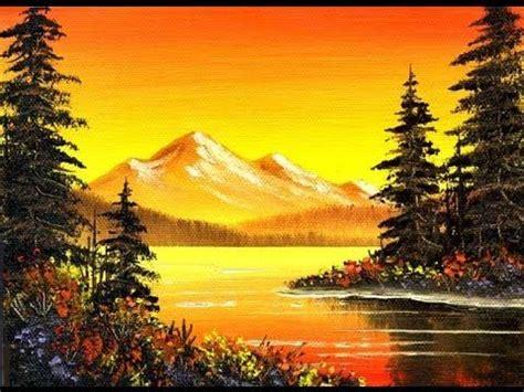 orange mountain lake  small simple oil painting