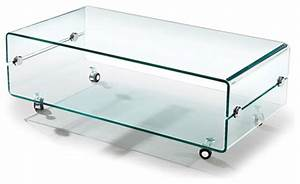 Modern bent glass coffee table on casters slide for Glass top coffee table with wheels