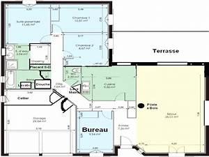 Maison 120m2 Plain Pied : plan maison plain pied 120m2 beau plan maison plain pied avec garage avec plan maison plain pied ~ Melissatoandfro.com Idées de Décoration