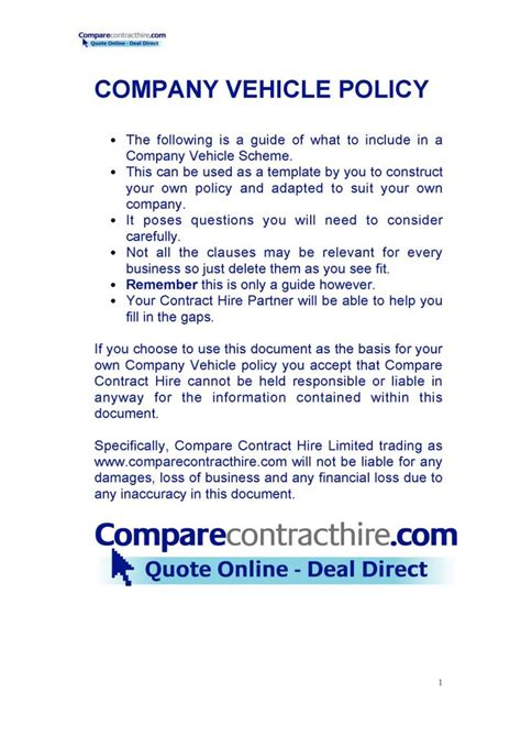 company vehicle policy template  format  databaseorg