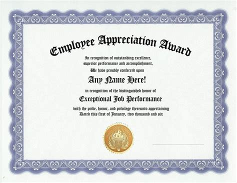 employee recognition certificates templates free employee appreciation award certificate office work