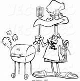 Bbq Coloring Cartoon Outline Standing Bird Toonaday Leishman Ron Graphic Vecto Rs Once sketch template