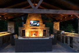 Outdoor Kitchens And Fireplaces by Kitchen Pleasant Bull Outdoor Kitchens With LCD TV Above Stone Fireplace Faci