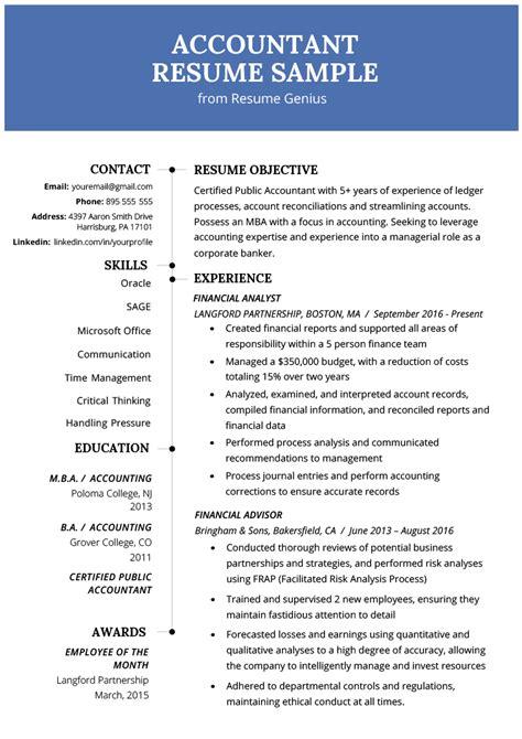 accountant resume sample  tips resume genius