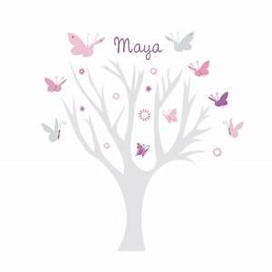 arbre papillons rose et gris lili pouce stickers With tapis chambre bébé avec fleurs cadeaux anniversaire