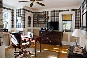 Office Space with Plaid Wallpaper