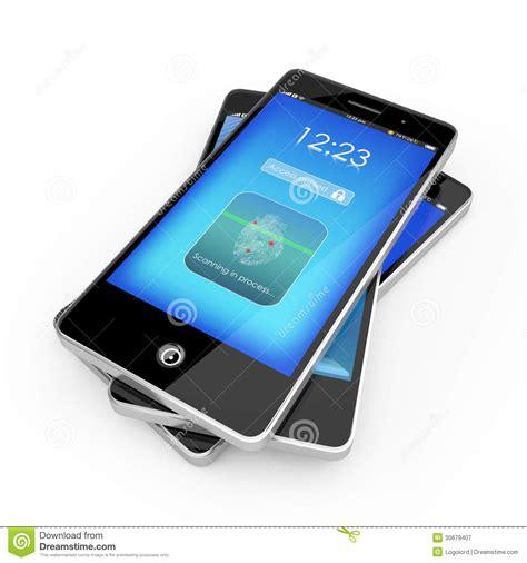 phones with fingerprint smart phone with fingerprint scanner royalty free stock