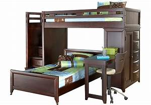 Ivy League Cherry Twin Twin Step Loft Bunk with Chest and ...