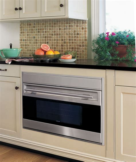 wolf sous   single electric wall oven   cu ft dual convection oven  clean