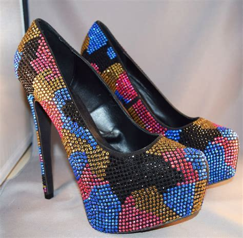 multi colored heels steve madden dramatic sparkling multi colored rhinestone steve madden 6