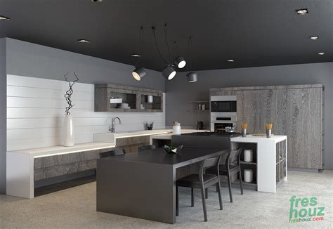 Greyscale Kitchen With Neutral Wood Cabinets (greyscale
