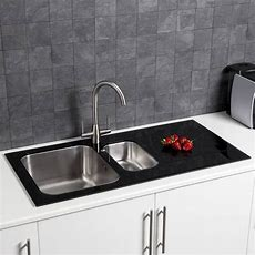 Sauber 15 Bowl Kitchen Sink With White Glass Drainer