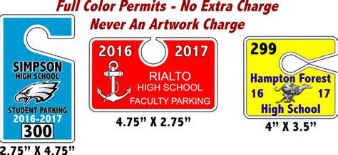 Parking Hang Tags  Hanging Parking Permits  K12 Parking