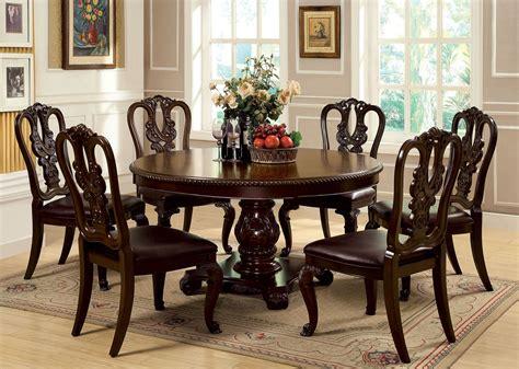 bellagio brown cherry  pedestal dining room set