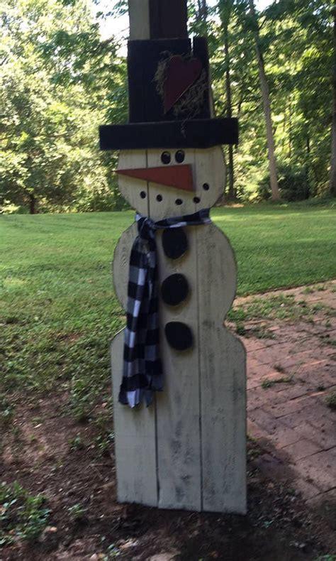 Big Outdoor Snowman Yard Art Primitive Wood