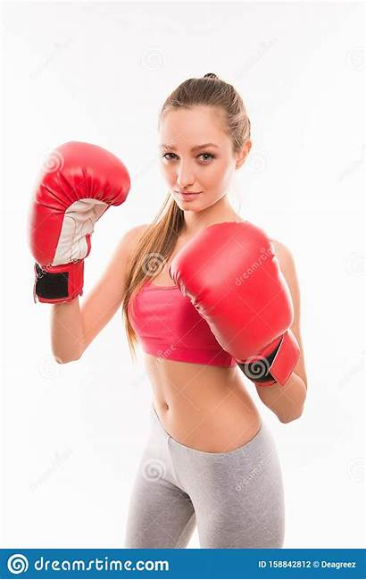 Boxing Gloves Wearing Woman Fitness Boxer