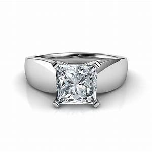 Wide band princess cut diamond engagement ring for Diamond engagement rings and wedding bands