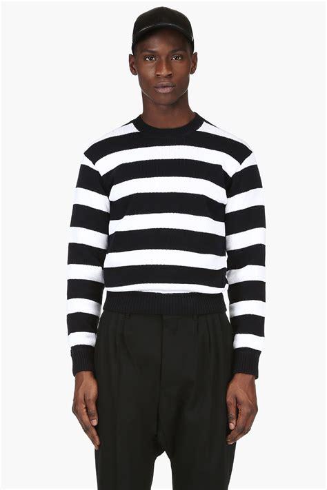 black and white striped sweater dsquared2 black and white striped knit sweater