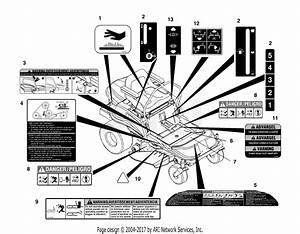 Ariens 915013  005904 - 010054  Ezr 1742  17hp B U0026s  42 U0026quot  Deck Parts Diagram For Decals