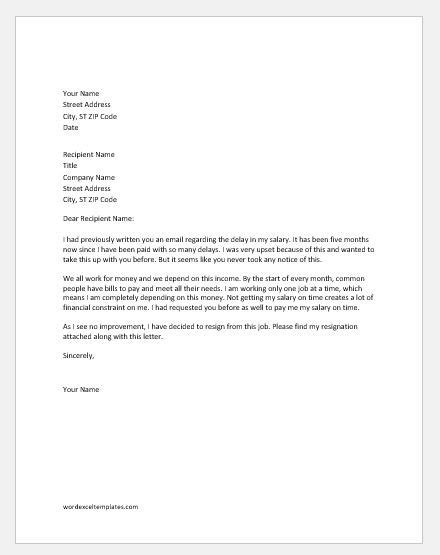 Resignation Letter Samples for Various Reasons | Word