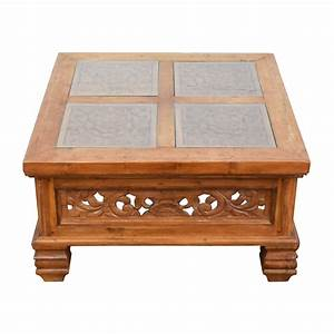 77 off teak carved coffee table with glass top tables With carved coffee table glass top