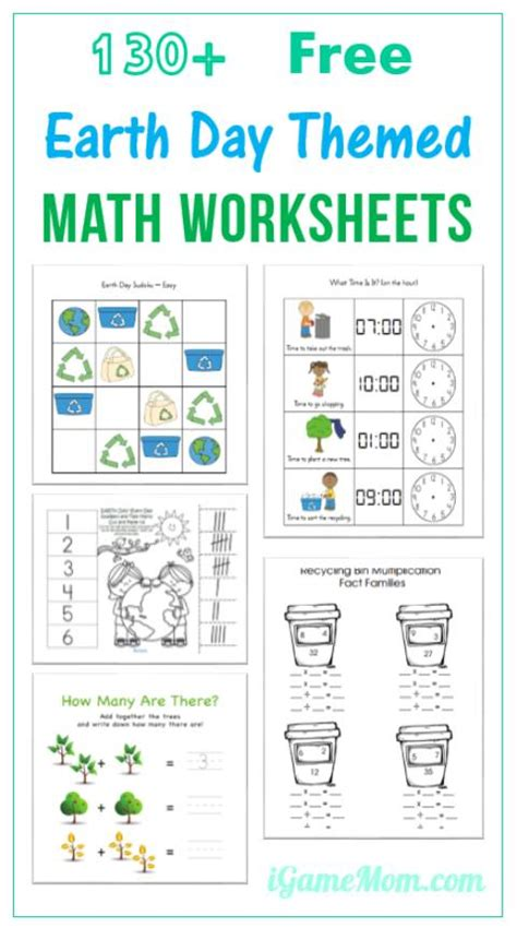 130 free earth day math printable worksheets for 307 | Earth Day Math Printable Worksheets for preschool kindergarten to school age kids