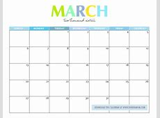 March 2017 Calendar Cute monthly calendar 2017