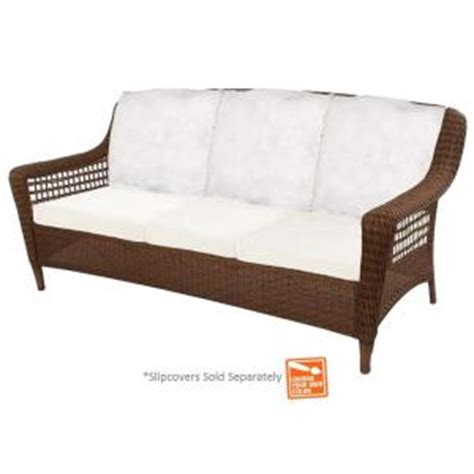 hton bay brown wicker patio sofa with
