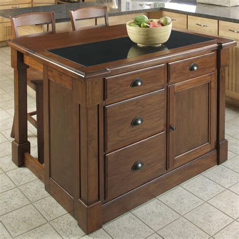 stools kitchen island shop home styles brown midcentury kitchen island with 2