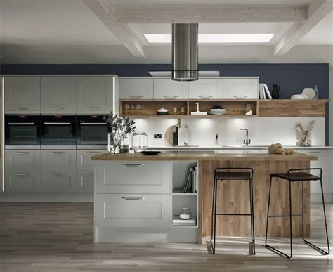 Table Island Kitchen - fairford dove grey kitchen shaker kitchens howdens joinery