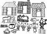 Pigs Coloring Three Houses Pages Colouring Story Birds Wecoloringpage Parts Cool sketch template