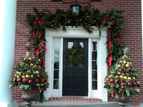 how to hang garland around front door decorations lush garland around door christmas decoration come with green wreath hanging on