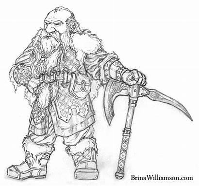 Hobbit Dwarf Brina Coloriage Williamson Drawn Beard