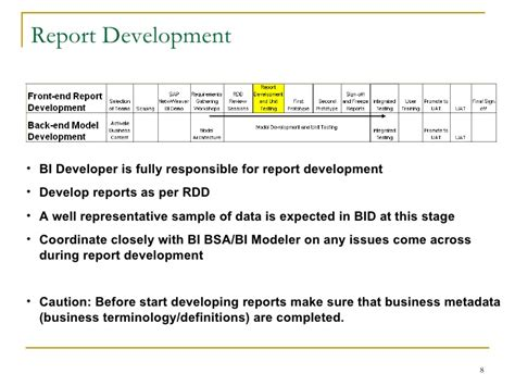 reporting requirements template sap bi requirements gathering process