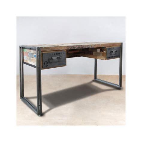 x com bureau bureau bois recyclé 2 tiroirs 120x60 caravelle