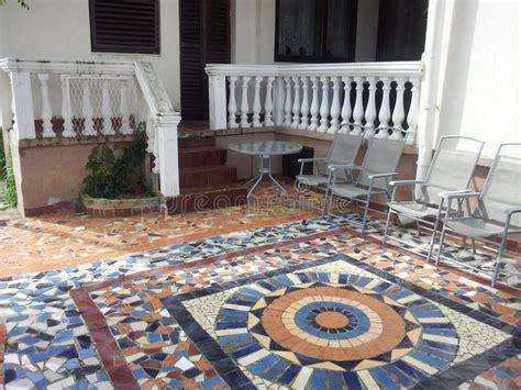 tiled yard stock image image  courtyard mosaic tiles