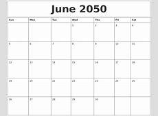 June 2050 Free Blank Calendar Template